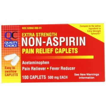 Quality Choice Extra Strength Non-aspirin Pain Relief 500mg. Caplets 100 Count, Boxes (Pack of 6)