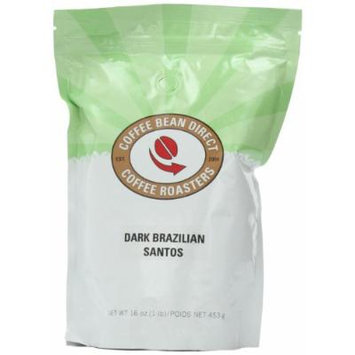 Dark Brazilian Santos, Whole Bean Coffee, 16 Ounce Bags (Pack of 3)