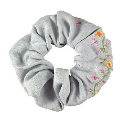 Smoothies Embroidered Flower Scrunchie-Light Blue 00708