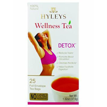 Hyleys DETOX TEA, 100% Natural Wellness tea, Cleanses The Body and Helps in Digestion, 25 Tea Bags.