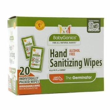 Babyganics Alcohol-Free Hand Sanitizing Wipes, On The Go Wipes, Mandarin 20 ea