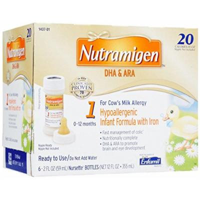 Nutramigen Formula for Cows Milk Allergy, Nursette Bottles, 2 Ounce (6 Count)