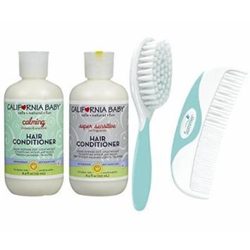 California Baby Calming Hair Conditioner & Super Sensitive Hair Conditioner with Comb & Brush Set