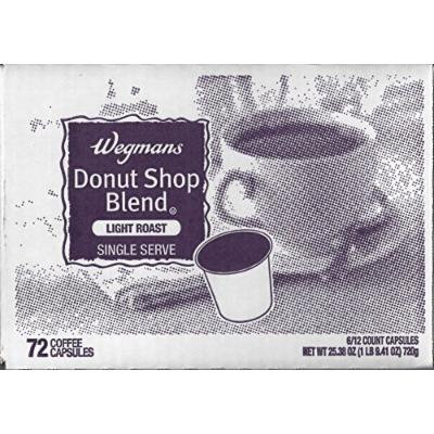 Wegman's Single Serve Coffee Capsules Case of 72 (Donut Shop Blend)