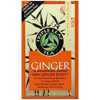 Triple Leaf Tea, Tea Bags, Ginger, 1.4-Ounce Bags, 20-Count Boxes (Pack of 1)