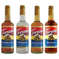 Torani Winter Favorite Syrups, Pumpkin Spice, Peppermint, Salted Caramel & Marron (Chestnut)