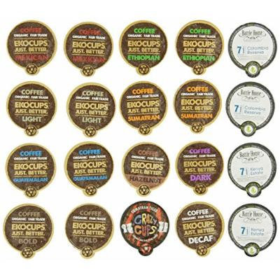 Crazy Cups Fair Trade Deluxe Sampler, Single serve cup Portion Pack for Keurig Single serve cup Brewers, (Pack of 20)