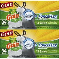 Glad ForceFlex OdorShield Tall Kitchen Drawstring Trash Bags, Gain Original, 13 Gallon, 68 Count Total