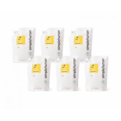 simplehuman Liquid Dish Soap Refill Pouch, Lemon (6 Pack)