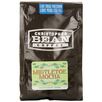 Christopher Bean Coffee Flavored Decaffeinated Ground Coffee, Mistletoe Mocha, 12 Ounce