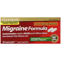 GoodSense Migraine Formula Caplets, Acetaminophen, Asprin (NSAID) and Caffeine Tablets, 100 Count (Pack of 24)