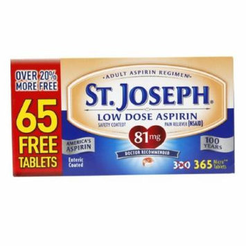 St. Joseph Low Dose Enteric Coated Aspirin Pain Reliever, 81mg MicroTablets 365 ea Pack of 2