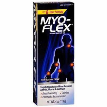 Myoflex Pain Relieving Cream, Trolamine Salicylate 10% 4 oz (113 g) Pack of 4