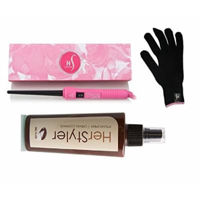 Herstyler Baby Curler Curling Iron 9-18mm with FREE HerStyler Styling Spray with Argan Oil (Pink)