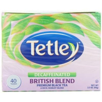 Tetley British Blend Naturally Decaffeinated Premium Black Tea, 40-Count Tea Bags (Pack of 6)