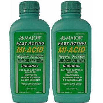 Mi Acid Antacid Anti Gas Liquid Generic for Mylanta Regular Strength Liquid , Lemon Flavor, 12-Oz Bottles Pack of 2 Bottles
