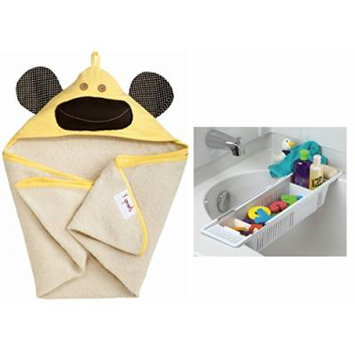 3 Sprouts Hooded Towel with Bath Storage Basket, Yellow Monkey