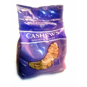 Wellsley Farms Roasted and Salted Cashew Halves & Pieces 38 oz. Resealable Bag