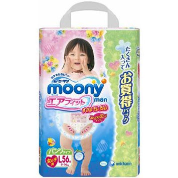 unicharm , Diapers , moony for girl , underware-style , L-size 54 sheets [ Japanese Import ]