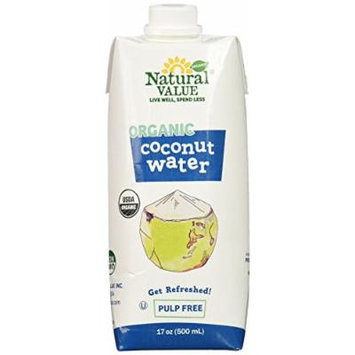Natural Value Organic Coconut Water, Pulp Free, 17.58 Ounce (Pack of 12)