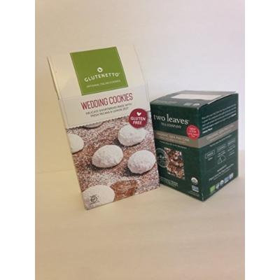 Glutenetto Gluten Free Gourmet Wedding Cookies. Plus Two Leaves Tea Company, Organic Tea Gen Mai Cha. 2 Items Bundle- 1: Two Leaves Tea Company, Organic Tea 15 Tea Bags, Plus a Great Gourmet Gluten Free Treat 6 Ounce for Mother's Day or Any Day.