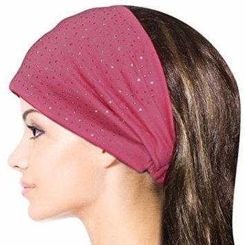Sparkling Rhinestone and Dots Wide Elastic Headband - Pink