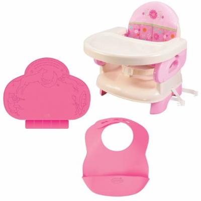 Summer Infant Pink Happiness Deluxe Comfort Booster with TinyDiner Placemat and Bibs