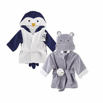 Baby Aspen Terry Cotton Hooded Baby Bath Robe, Twin Pack, Penguin/Hippo