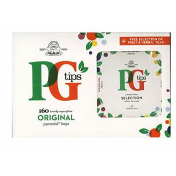 Pg Tips 160 Original Pyramid Tea Bags with Limited Edition Herbal Infusions Bonus Box
