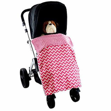 Stroller Blanket Zig Zag Pink - No-Fall Universal Stroller Blanket, Sac-like Design Keeps Warm Air In, Handmade in USA.