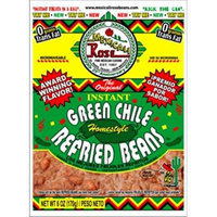 Mexicali Rose Instant Mexican Homestyle Refried Beans 6oz - 7oz Pouch (Pack of 3) (Green Chile 7oz)
