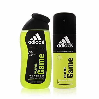 Adidas Pure Game by Coty for Men 2 Piece Set Includes: 5.0 oz Deodorant Body Spray + 8.5 oz Shower Gel