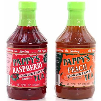 Pappy's Tea Concentrate Assortment,(2 Pack) Peach & Raspberry, Natural - No Sugar Added
