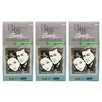 3 BOXES of BIGEN SPEEDY Brownish Black No.882 Hair Color Conditioner. Darkens grey hair in 5 min