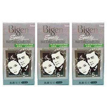 3 BOXES of BIGEN SPEEDY Brownish Black No.882 Hair Color Conditioner. Darkens grey hair in 5 min