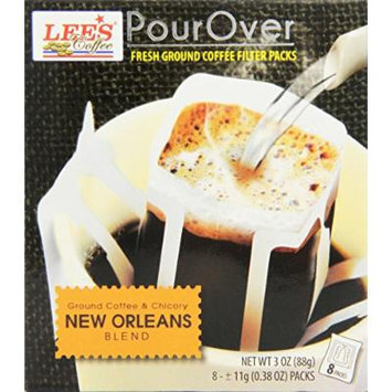 Lee's Coffee Pourover Fresh Ground Filter Packs, New Orleans, 8 Count (Pack of 22)
