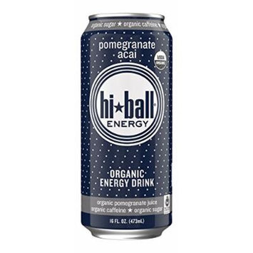 Hiball Energy Sparkling Organic Juice Drink, Pomegranate Acai, 16 Ounce (Pack of 12)