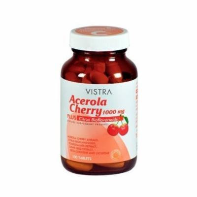 Vistra Acerola Cherry 1000mg. 100 Tablets. [Get Free Herbal lozenges]