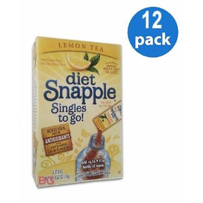 Diet SNAPPLE LEMON TEA Soft Drink Mix 6 Sticks In Each Box (12 Pack) GL