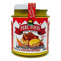 Peru Food Aji Pollo a La Brasa Yellow Pepper and Black Mint Hot Sauce 7.5 Oz.