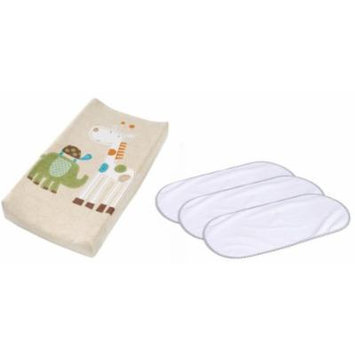 Summer Infant Plush Pals Changing Pad Cover with 3-Pack Waterproof Changing Pad Liners, Safari
