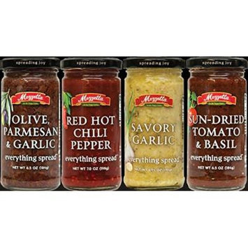 Mezzetta Everything Spread 6.5oz-7oz Glass Jar (Pack of 4) Select Flavor Below (Sampler Pack with 1 ea of Savory Garlic * Red Hot Chili Pepper * Sun-Dried Tomato & Basil and Olive Parmesan & Garlic)