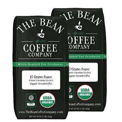 The Bean Coffee Company El Grano Suave (Classic Columbian Excelso) Coffee, Organic Ground, 16-Ounce Bags (Pack of 2)