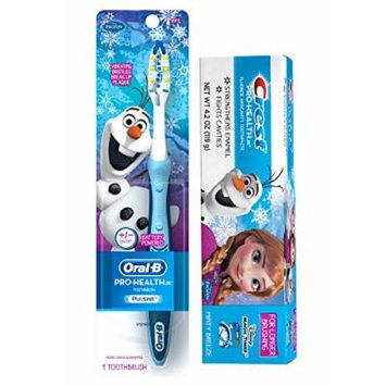 Ready...Set...Brush! Exclusive Disney Frozen Pro Health Jr Battery Powered Soft Manual Toothbrush Plus Bonus Disney Frozen Crest Pro Health Jr. Fluoride Anticavity Toothpaste!