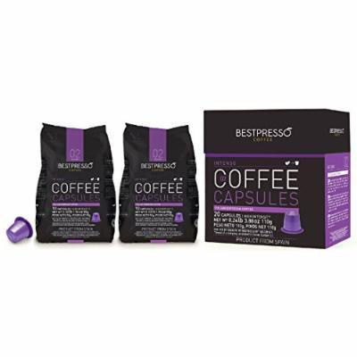 40 Bestpresso Nespresso Compatible Gourmet Coffee Capsules - Nespresso Pods Alternative: Intenso Blend Natural Espresso Flavor (High Intensity) - Certified Genuine Espresso