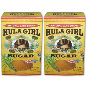 2Boxes of Hula Girl Sugar Maui Brand Natural Sugar Cane 24 Sachets From Hawaii