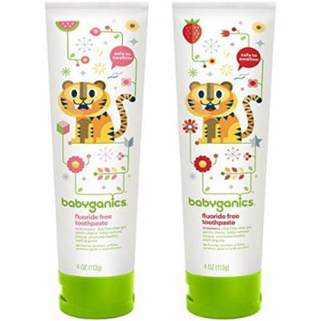 BabyGanics Fluoride Free Toothpaste 4 oz, Twin Pack - Watermelon & Strawberry