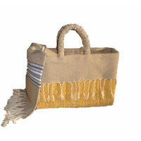Scents and Feel Fully Lined Palm Leaf Basket with Fringes, Light Brown