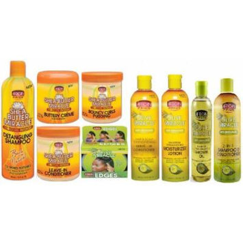 African Pride Olive Miracle and Shea Butter Miracle Super Set (detangling shampoo, shea butter creme, shea butter leave in conditioner, shea butter pudding, edge gel, shampoo conditioner, growth oil, moisturizer lotion, and olive oil leave in...