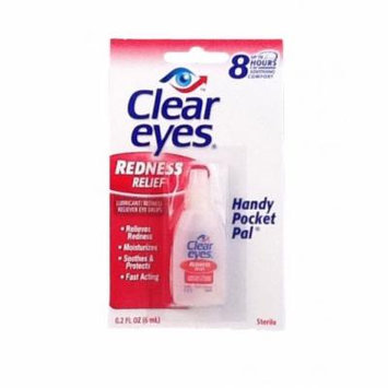 Clear Eyes Eye Drops Lubricant Redness Reliever, Handy Pocket Pack 0.2 Fl Oz / 6 Ml (Pack of 6)